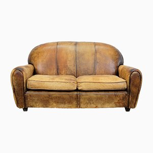Sofá de dos plazas holandés vintage de cuero coñac