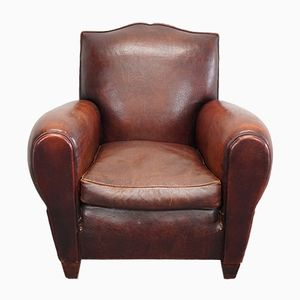 Vintage French Moustache Back Brown Leather Club Chair