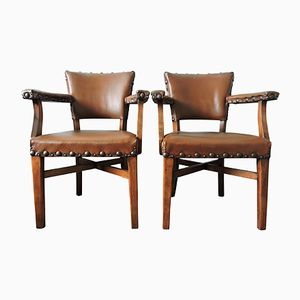 Vintage Brown Studded Leather & Wood Armchairs, Set of 2