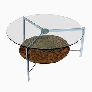 Mesa de centro con estructura cromada fina, años 70