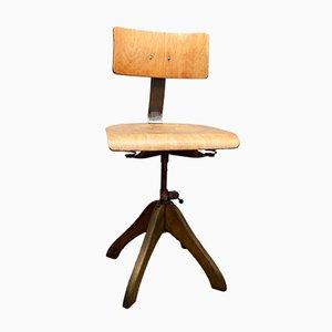 Sedia girevole vintage in legno di Margarete Klöber per Polstergleich