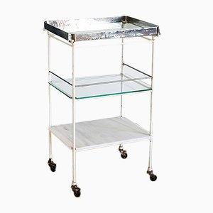 Carrito médico de metal, vidrio y mármol, años 60