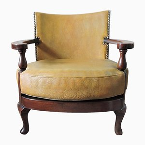 Vintage Mustard Yellow Leather and Wood Tub Chair