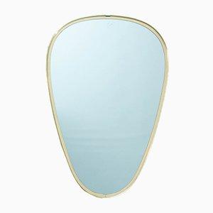 Ovaler Spiegel aus Messing, 1960er