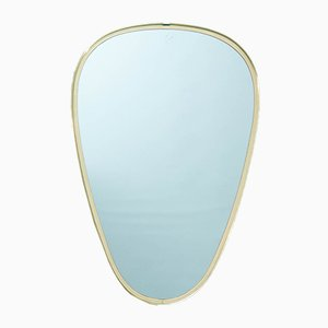 Specchio ovale in ottone, anni '60