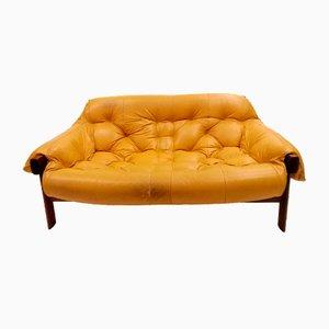 Sofá de dos plazas de palisandro y cuero de Percival Lafer, años 70