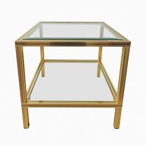 Mesa auxiliar cuadrada de latón y vidrio de Pierre Vandel, años 70