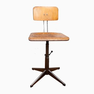 Vintage Wooden Swivel Chair from Bamefa