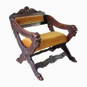 Antiker geschnitzter Savonarola Stuhl aus Nussholz