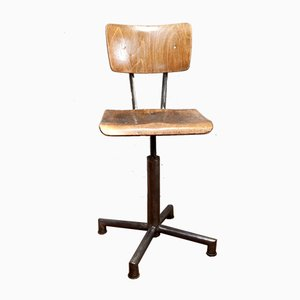 Medizinischer Vintage Drehstuhl aus Holz