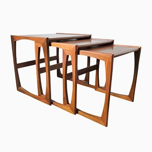 Quadrille Teak Nesting Tables by R. Bennett for G-Plan, 1970s