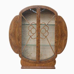 Vitrina Art Déco circular de nogal con estantes de vidrio