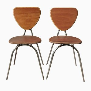 Curved Wood and Metal Chairs, 1960s, Set of 2
