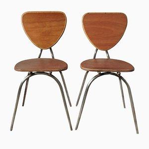 Gebogene Stühle aus Holz und Metall, 1960er, 2er Set