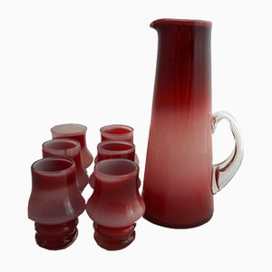 Drinks Set with Jug and 6 Glasses by Jerzy Słuczan-Orkusz for Tarnowiec Glassworks, 1970s