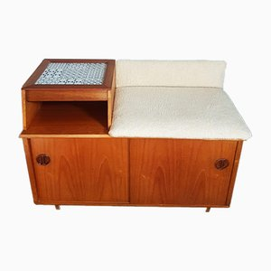 Mid-Century Telephone Table with Tiled Top & Wool Seat