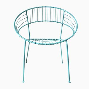 Turqouise Powder Coated Garden Chair, 1970s