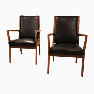 Vintage Leder Beistellstühle, 2er Set