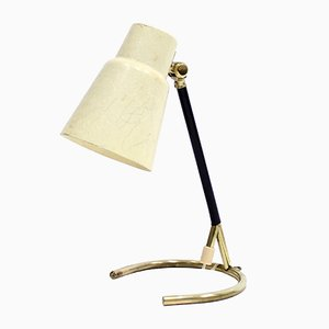 Swedish Brass Table Lamp with Fiberglass Shade, 1950s
