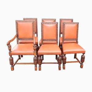 Vintage Carved Oak Dining Chairs, Set of 6