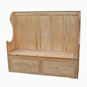Large Pine Settle with Storage Seating, 1920s