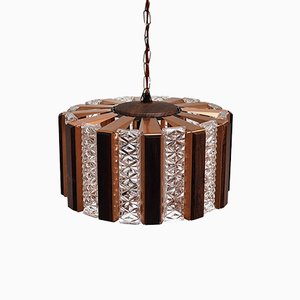 Copper & Glass Pendant Lamp with Rosewood Details by Werner Schou for Coronell Elektro, 1960s