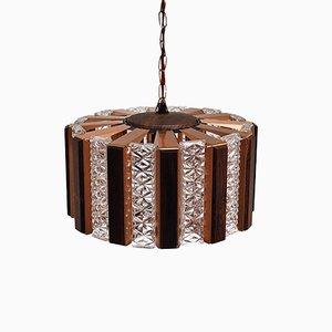 Lampe à Suspension en Cuivre et Verre avec Détails en Palissandre par Werner Schou pour Coronell Elektro, 1960s