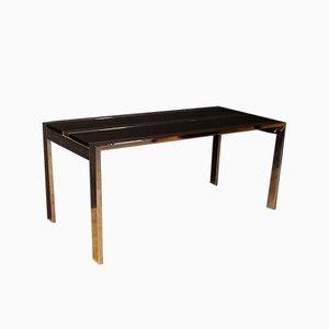 Italian Chromed Metal and Wood Table, 1970s