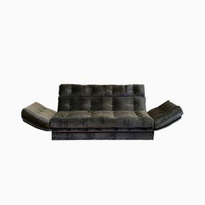 Italian Gunmetal Grey Jacquard Velvet Sofa, 1980s