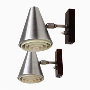 Wandlampen aus Aluminium mit Palisandergestell, 1960er
