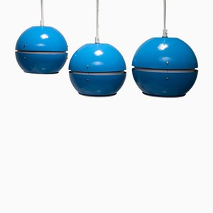 Blue Ceiling Lamps, 1970s, Set of 3