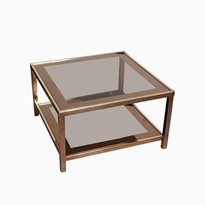 Square Hollywood Regency 23-Carat Gold Two-Tier Coffee Table, 1960s