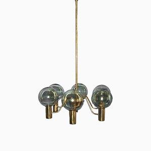 Lampadario modello T372 in ottone a 6 braccia di Hans-Agne Jakobsson, anni '50