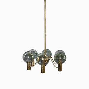 Model T372 Brass 6-Armed Chandelier by Hans-Agne Jakobsson, 1950s