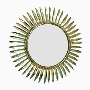 Specchio grande curvo a forma di sole di Deknudt, anni '60