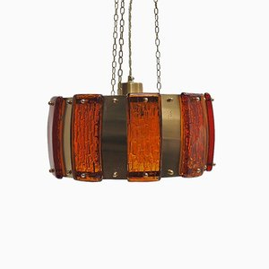 Brass Pendant Lamp with Thick Amber Colored Glass Pieces from Vitrika, 1960s