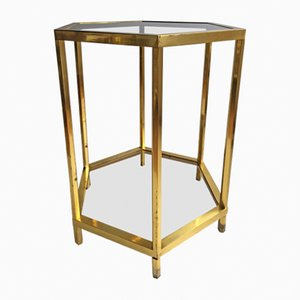 Französischer sechseckiger Vintage Messing Tisch