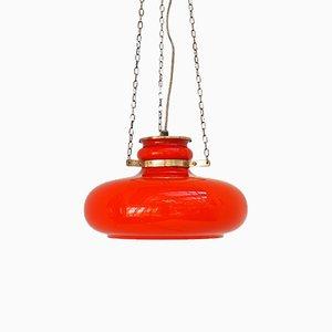 Lámpara colgante de vidrio naranja, años 60