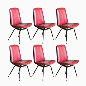 French Metal Chairs with Burgundy Skai, 1960s, Set of 6
