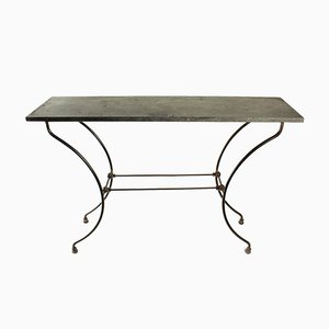 Napoleon III Wrought Iron Console Table with Marble Top