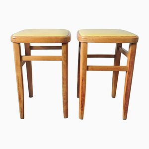Beech and Yellow Leather Stools, 1960s, Set of 2