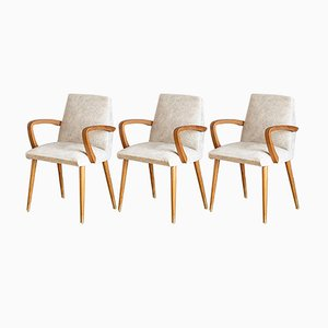 French Beech Armchairs with Cream Skai Seats, 1960s, Set of 3