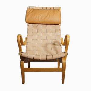 Pernilla High Back Lounge Chair with Leather Webbing by Bruno Mathsson for Firma Karl Mathsson, 1968