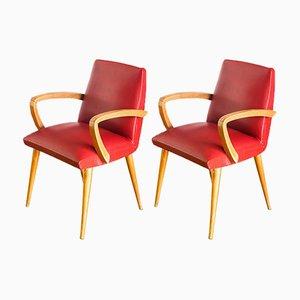 Französische Armlehnstuhl aus rotem Skai & Buchenholz, 1960er, 2er Set