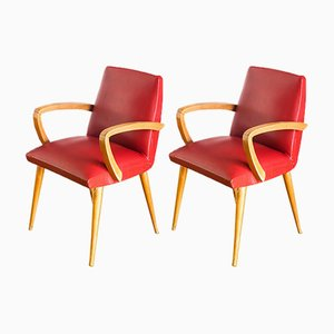 French Red Skai & Beech Armchairs, 1960s, Set of 2