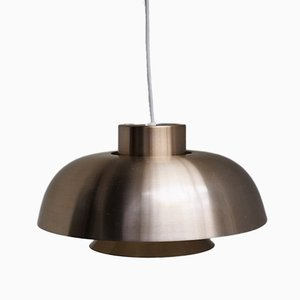 Lámpara colgante danés de aluminio color latón, años 60