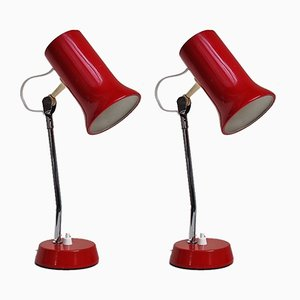 Danish Red Table Lamp, 1970s, Set of 2