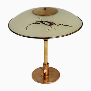 Lámpara de mesa danesa de vidrio y latón, años 40