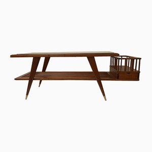 Italian Teak Coffee Table with Drawer, 1950s