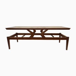Large Italian Glass and Teak Coffee Table, 1950s